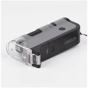 Kính hiển vi Mini Carson MicroFlip MP-250 cho điện thoại chụp siêu zoom - Có hỗ trợ tia UV và Đèn LED Sử dụng pin AA - Tặng Bộ KIT 12 Tiêu bản Tế bào động vật