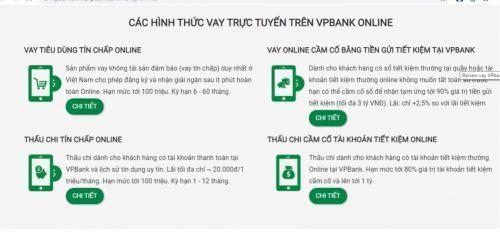 Hình thức vay trực tuyến VPbank
