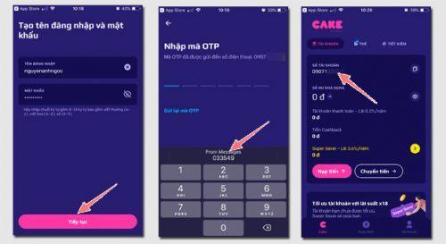 Hướng dẫn cách mở tài khoản ngân hàng cake3